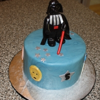 Star Wars Cake  Another star wars cake for a little boy. Wll decorated with MMF and darth vader made with MMF. Done in a classic/lego style. Around the...