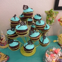 Spongebob's Spatula On Cupcakes. Chocolate cupcakes, buttercream frosting with chocolate spatulas on top.