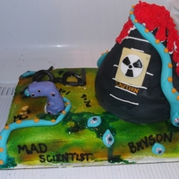 Mad Scientist This cake was for a Mad scientist themed party. All cake with Fondant accents.