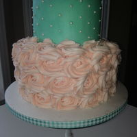 Strawberry Cake With Strawberry Buttercream On Bottom With Roses And Chocolate Cake With Buttercream On Top   Strawberry cake with strawberry buttercream on bottom with roses and chocolate cake with buttercream on top.