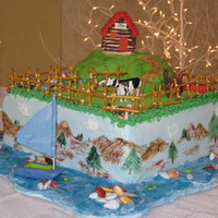 Congratulations Huey  Groom's cake for one of my favorite guys! The fondant boat is a replica of one he built himself. He was so excited when he saw it!...