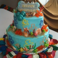 "Happy Birthday Number 2 My Joshie!   ""Bun-Bob"" for my Bubbie! Isomalt coral and Jolly Rancher Seaweed. So much fun to make!"