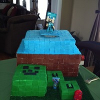 "Happy Birthday Jackson!  Minecraft cake for my grandson. Extreme Cake. ""Steve"" the centerpiece rises as water based fog comes out from the base. The kids..."