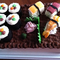 Sushi Cake Always wanted to give a sushi cake a try and a family birthday was just the time. Everything is edible. The sushi is made with cupcakes as...