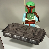 Lego Star Wars - Boba Fett & Han Solo In Carbonite For son's 4th Birthday.Decorated in RKT and modeling chocolate.