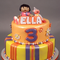 Dora & Boots Themed Birthday Cake Decorated in fondant and modeling chocolate.