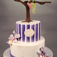 Conure & Orchid Wedding Cake Decorated in fondant, modeling chocolate and gumpaste.