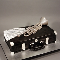 Trumpet & Case Cake Decorated in fondant, modeling chocolate and edible images.