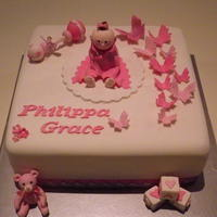 Baby Girl Christening Cake All hand modeled from fondant.