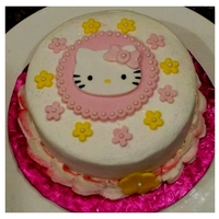 Hello Kitty   Chocolate cake with vanilla bean buttercream. Fondant artwork