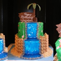 "Palm Tree Is Gum Paste Flowers And Rocks Are Fondant Tiki Head And Drift Wood Plaque Are Chocolate Water Is Piping Gel Fence Is Stor  Palm tree is gum paste, flowers and rocks are fondant, tiki head and ""drift wood"" plaque are chocolate, water is piping gel, &..."