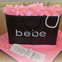 Bebe Shopping Bag Cake 3 tiers- WASC, vanilla, and strawberry cake filled with vanilla butter cream