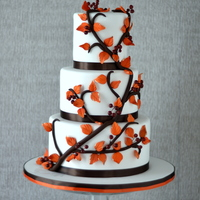 "468 Airbrushed Leaves And Berries Individually Wired Satin Ribbon Around The Base Of Each Tier And Inspired By A Pink Cake Box Desig  4""/6""/8"" airbrushed leaves and berries (individually wired), satin ribbon around the base of each tier and inspired by a..."