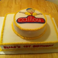 Caillou Birthday Cake Fondant & Buttercream