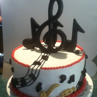 Jazz Musical All notes made of cookies and cream chocolate molds. instrument are mmf, covered in buttercream frosting.
