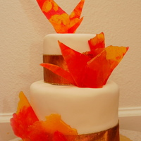 Girl On Fire 40Th Birthday Cake Ivory fondant with candy flamesCrushed and melted Cinnamon Fire Jolly Ranchers and Butterscotch hard candy; baked at 300 degF on parchment...