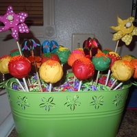 Hawaiin Cake Pops Cake pops for an hawaiin themed party