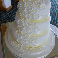 Daisy Wedding Cake   A beautiful three tier weddding cake covered with a cascade of individual daisy sugar flowers
