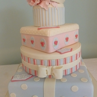 Pale Blue And Pink Parcel Wedding Cake