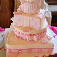 Pink Candy Stripe Parcel Wedding Cake   A tower of parcels in sweet pinks