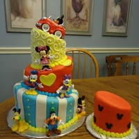 Mickey   For a 1st birthday. The figures are all bought, rest of the cake was in fondant. TFL!