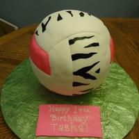 Volleyball I was really happy with how this came out! Covered in white fondant and then painted color on.