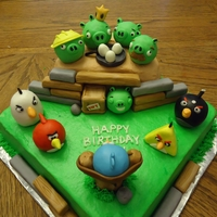 Angry Birds design is from a picture my client sent to me, not sure whose it was originally! Birds and pigs are rice crispies with fondant. A lot of...