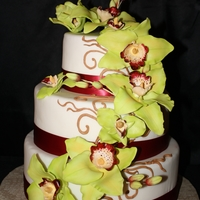 Green Orchid Cake Display cake I made for a bridal show.