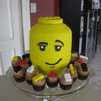 First Attempt At Lego Head Cake My Son Whos 23 Is A Legomaniac And This Was A Fitting Cake For Him Mini Cupcakes With Blocks As Topp First attempt at Lego Head cake -- my son (who's 23) is a legomaniac and this was a fitting cake for him. Mini cupcakes with blocks as...