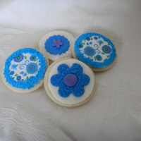 Blue And Green Floral Cookies sugar cookies decorated with fondant and edible images