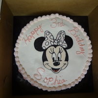 Minnie Mouse Birthday Cake Birthday cake for a friends daughter. Strawberry with fresh strawberry filling. Got an air bubble under her name and bummed with the...
