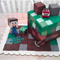 "Minecraft Cake The Steve figurine, block next to him, and the ax are from an action figure kit (plastic). The cake and squares on the ""ground""..."