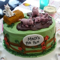 Pig Pen Kitty Cat Cake   For my pig loving niece. Fondant pigs and cat. Hay bale is fondant wrapped marshmellows and painted with gel food color.