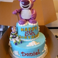 Toy Story Mr. Lotso And Buzz Cake   Rice crispy and fondant Mr. Lotso. buzz is all fondant.