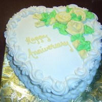 "Anniversary Cake   10"" sgl layer iced in BC. I made this for the Anniversary of my girlfriend & her husband."