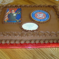 Graduation Cake Uscg   High School Grad going into USCG. Iced with Crusting Choc Fudge BC recipe found on this website. Very easy icing to work with.
