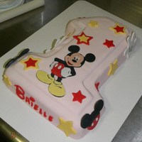 First Birthday Mickey Cake For a little girl that loves Mickey. All fondant.