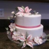 Gumpaste Flowers And Leaves On Fondant Cake