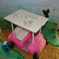 Golf Cart  Golf cart covered in fondant. The roof is cardboard covered in fondant held up by dowels also covered in fondant. The seats, golf bag and...