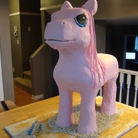 My Little (Big!) Pony My Little Pony cake. It was about 3 feet tall, covered in buttercream. We used rice krispies around dowels for the legs (my husband built a...