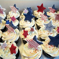 Fourth Of July Cupcakes Chocolate cupcakes with ganache filling and Easy No-Cook Meringue Icing (the icing recipe can be found in the recipe section). Star pops...