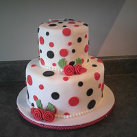 Polka Dot Cake I made this for a friend's 50s themed wedding, with a red, black and white polka-dot decorating theme. I thought the ribbon roses...