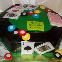 Poker Table Vanilla cake with fondant poker chips, edible print cards.