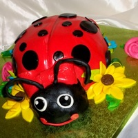 Lady Bug Lemon cake with fondant flowers,etc. Cake for my grand daughters, no special occasion, just because.