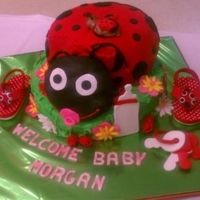 Lady Bug Shower Cake Lemon cake with lemon filling. Sleeping baby on top of lady bug. Gumpast assories