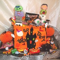 Halloween Goodie Treat Bag Lemon cake. Fondant covering. Filled with candy goodies.