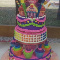 Cake Me Candy Land My DD and DS helped plan and execute this cake. Butter cream iced with skittles candy dressed up for button candy. Kool Aid tropical...