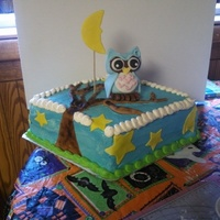 Owl Baby Shower Cake Owl and moon with tree and stars are made from fondant! Cake is covered in buttercream!