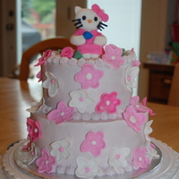 Hello Kitty Birthday Cake Grape buttercream icing with fondant decorations.