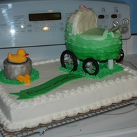 3D Carriage Shower Cake Baby shower cake. MMF decorations.